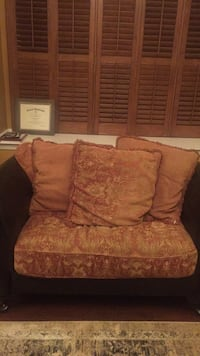 Brown and red floral fabric sofa chair Freehold, 07728