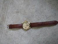 round gold analog watch with brown leather strap Welland, L3C