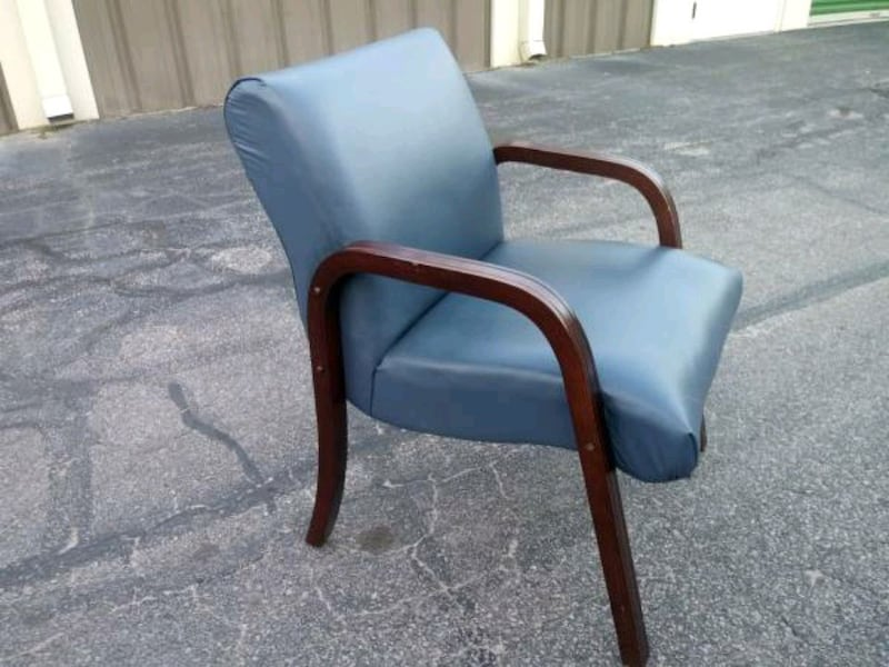 Used Slate Blue Leather Chair High Point Furniture For