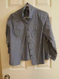 gray button up long sleeve collar shirts