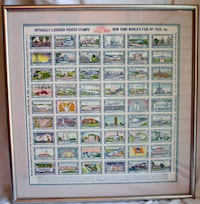 New York, NY! Framed 1939 World's Fair Poster Stamps Sheet Matted Filatelist Gift Excellent Gaithersburg