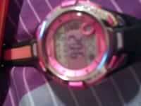 round case silver and pink digital watch