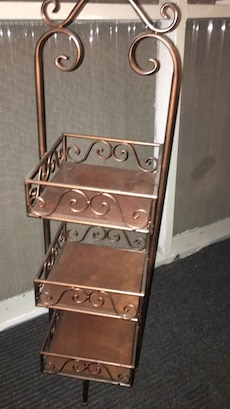 pier 1 bathroom caddy. black iron and Walnut wood.  4ft tall
