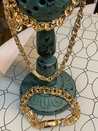 Gold Plated Fancy Chain Necklace And Bracelet Set