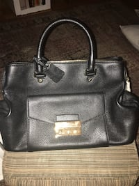 Michael Kors black leather purse w/white silk bag