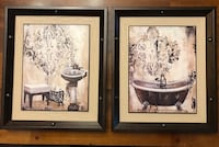 two brown wooden framed painting of white and blue flowers Winter Garden, 34787
