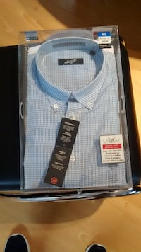 Blue and white striped button-down collared shirt  Surrey, V3R 3E6