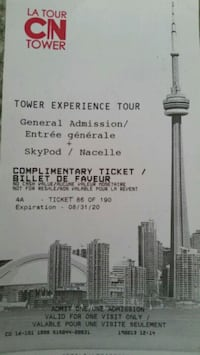 CN TOWER TICKET WITH SKYPOD Chatham-Kent, N0P 1A0