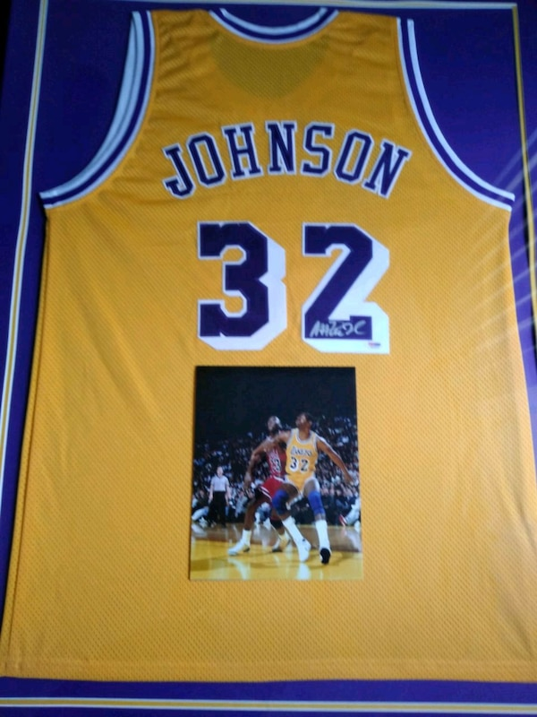 premium selection bc83c 7a6fb Framed Autographed Magic Johnson Jersey