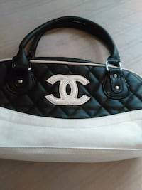 quilted black and gray Chanel leather shoulder bag