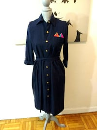 (NEW) With Tags -Navy Sash Button-Front Dress / Long Duster Toronto