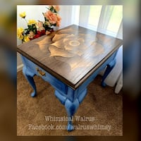 Blue Wood Stain Artwork End Table Indian Land, 29707