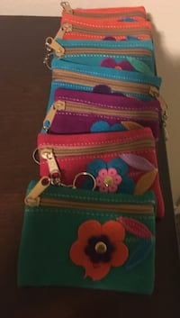 Leather Red, green, blue floral bag mini change bags.  Orange, 92869