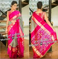 women's pink and brown sari dress Bhoodan Pochampally, 508284