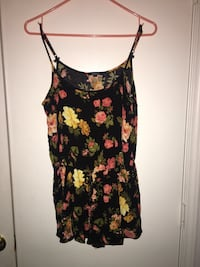 women's black, yellow and pink floral print spaghetti strap top
