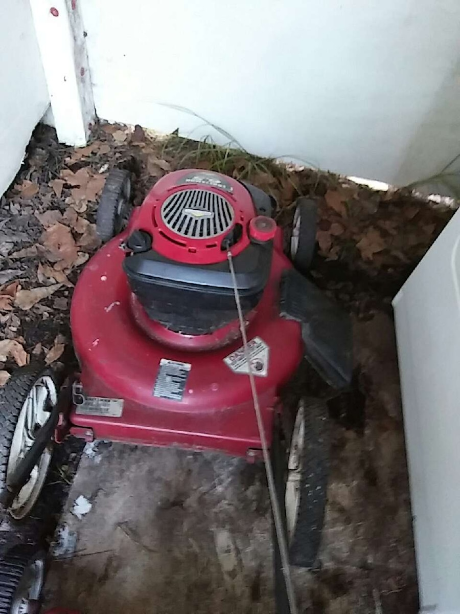 red and black push mower