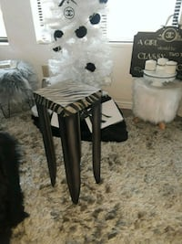 Metal Stand with Zebra Print Top