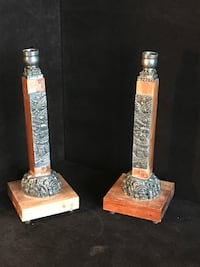 Wooden base sterling silver candle stick pair Toronto, M2R 3N1