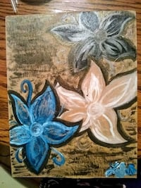 blue and white floral painting Kingman