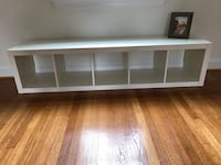 white wooden framed glass top TV stand 41 km