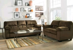 Brand New Chocolate Color Living Room Set ! 39$ Down Payment