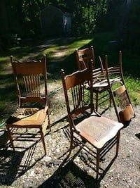 4 antique oak chairs with cane seats Oyster Bay