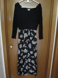 black and white floral long-sleeved dress St. Catharines