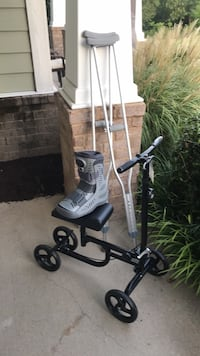Ankle boot, crutches and knee scooter