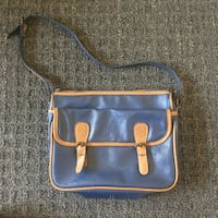 blue and brown leather crossbody bag