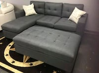 Brand New Grey Linen Sectional Sofa Couch +Ottoman Silver Spring