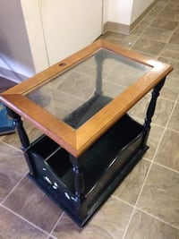 Glass and brown wooden side table Schenectady, 12304