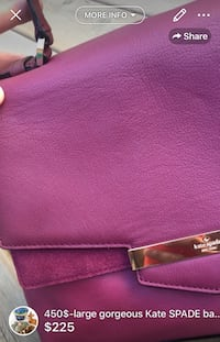 450$-large gorgeous Kate SPADE bag retailed 450$ gorgeous wine burgundy leather it has 14 K gold plated hardware it has barely been used-lining spotless comes from smoke free home please see pic for more detailed info London, N5W 6E4