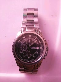 round silver chronograph watch with link bracelet Abilene, 79601