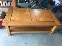 Rectangular brown wooden coffee table. Severn