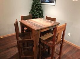 Reclaimed wood high top table and chairs
