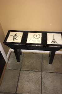 coffee table, side table, 2 bar stools, side table and mirror