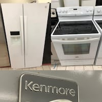 White Kenmore refrigerator & electric stove combo 100 days warranty