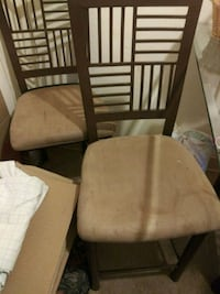 two brown wooden framed beige padded chairs Washington, 20032