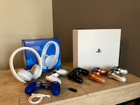 White PS4 Pro w/ 3 controllers Headphones and grip Washington, 20001