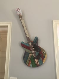 One of a kind decorative guitar wall art