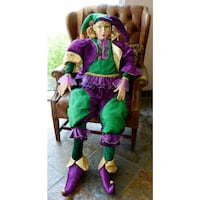 "NEW Large Sitting Jester Mardi Gras Figure Doll 48"" 548 km"