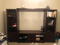 Black flat screen tv with brown wooden tv hutch Winter Garden, 34787