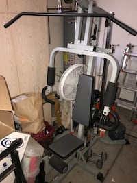 Weight bench with weights and dumbbells