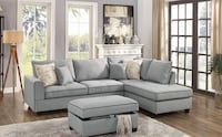 Brand New Light Grey Sectional Sofa Couch w/Storage Ottoman Silver Spring, 20902
