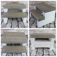 New Rustic Farmhouse Steps Gray Step White Base  Mission