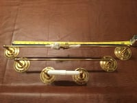 Brass towel bar and toilet paper holder with brass screws. All Polished brass. 26 km