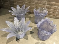 four purple cut glass vases Whitby