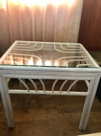 WICKER RATTAN TWO GLASS TOP END TABLES