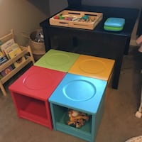 Wooden Children's Activity Table with Wooden Storage Stools