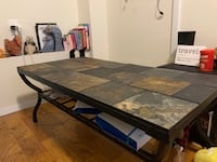 OR BEST OFFER--Slate and Iron Coffee Table with Shelf New York, 10075
